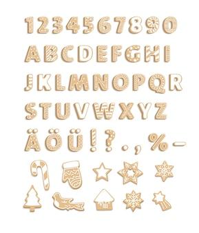 装飾デザインのジンジャーブレッドクッキーのアルファベットクリスマスの手紙甘いデザートフォント