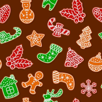 Gingerbread cookies for christmas seamless pattern.