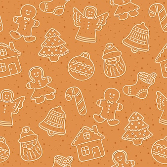 Gingerbread cookies for christmas. seamless pattern