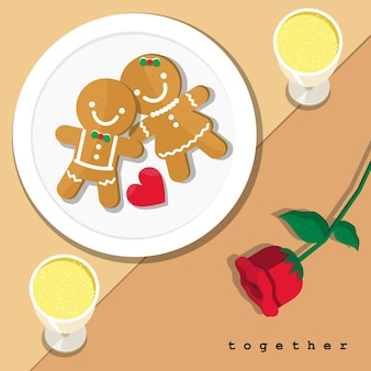 ジンジャーブレッドクッキーのカップルと赤いバラ、テーブルセッティングのディナーにカップルのシャンパン。