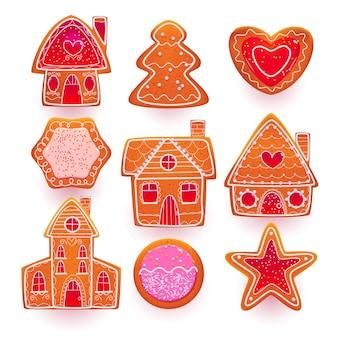 さまざまな形のクリスマスのジンジャーブレッドクッキー