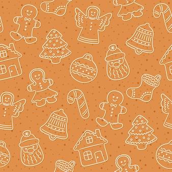 クリスマスのジンジャーブレッドクッキー。シームレスパターン