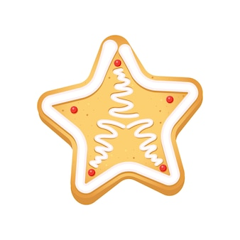 Gingerbread cookies in the form of christmas star on a white background