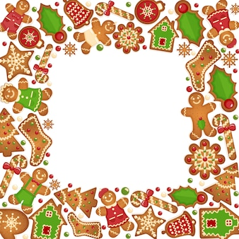 Gingerbread cookies  frame.  food dessert decoration christmas, sweet ginger and biscuit