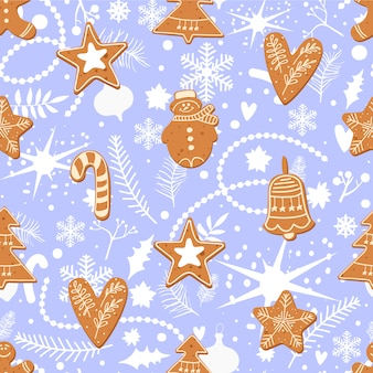 Gingerbread cookies hand drawn pattern template