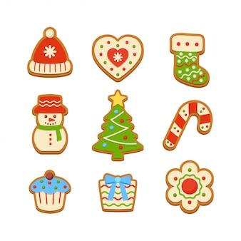Gingerbread cookies illustration set