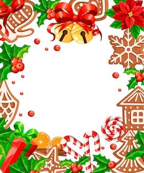진저 쿠키 패턴. 인사말 카드 크리스마스 개념입니다. 흰색 배경에 그림입니다. 중앙의 빈 공간