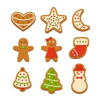 Gingerbread cookies vector illustration set