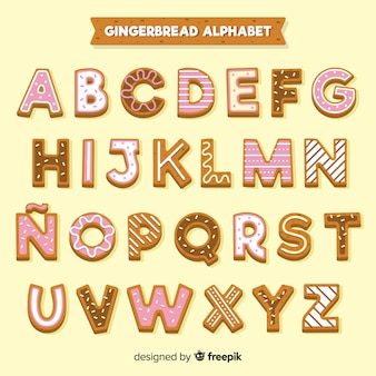Gingerbread decorated alphabet