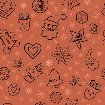 Gingerbread doodle seamless christmas pattern