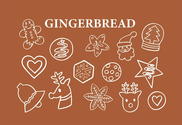 Gingerbread doodle set of 14 vector