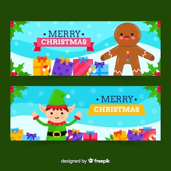 Gingerbread and green elf banners