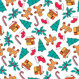 ジンジャーブレッドの家と男、キャンディー、サンタの靴下、ベル。クリスマスのシームレスなパターン。落書き風の新年のお祝いデザイン。
