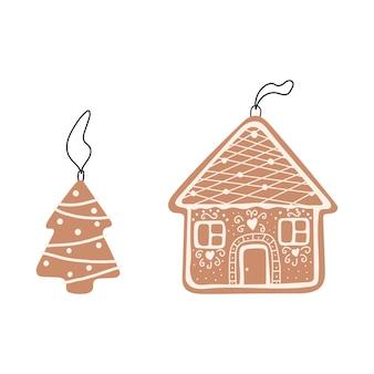 クリスマスツリーのハンガーとジンジャーブレッドの家と木