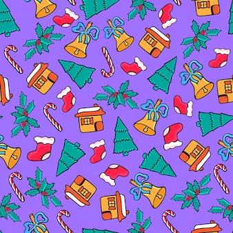 ジンジャーブレッドハウス、キャンディー、サンタの靴下、ベル。クリスマスのシームレスなパターン。落書き風の新年のお祝いデザイン。