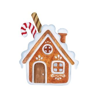 ジンジャーブレッドハウスクリスマスアイシング水彩要素イラスト