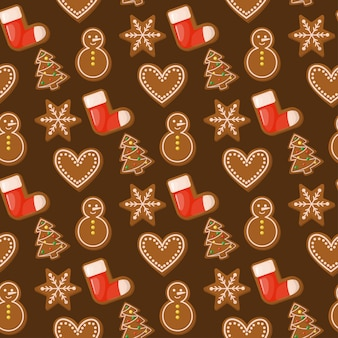 Gingerbread house christmas seamless pattern