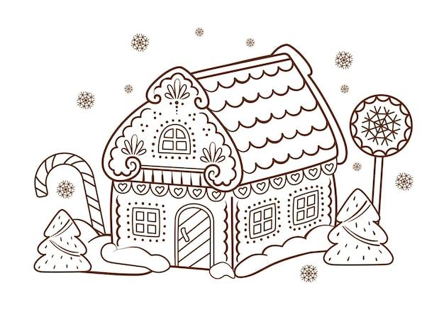 ジンジャーブレッドハウス。クリスマスの甘さ。ぬりえの絵。