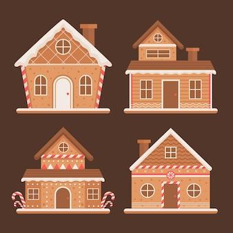 Collezione di case di marzapane in design piatto