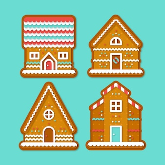 Gingerbread house collection in flat design