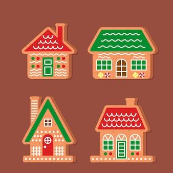 Коллекция пряничных домиков в плоском дизайне