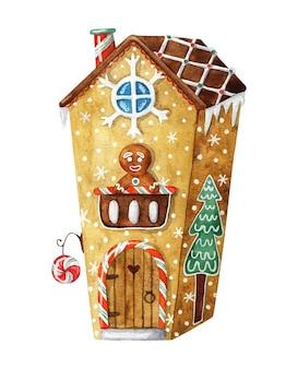 Gingerbread house. cute, cartoon-style christmas illustration