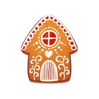 Gingerbread house. cute christmas traditional cookie with white icing decoration. vector illustration.