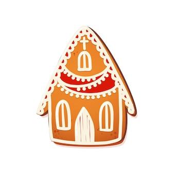 진저브레드 하우스. 흰색 장식 장식이 있는 귀여운 크리스마스 전통 쿠키. 벡터 일러스트 레이 션.
