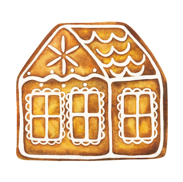 Gingerbread house. festive christmas cookies with icing.