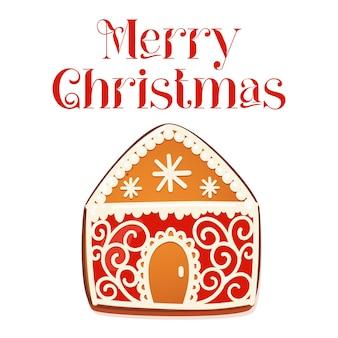 진저브레드 하우스 기프트 카드. 흰색 장식 장식이 있는 귀여운 크리스마스 전통 쿠키. 벡터 일러스트 레이 션.