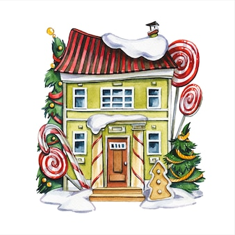 진저 브레드 하우스 손으로 그린 수채화 그림. 멋진 오두막 외관과 흰색 바탕에 장식 된 새 해 나무. 사탕 장식 수채 화법 그림으로 동화 건물