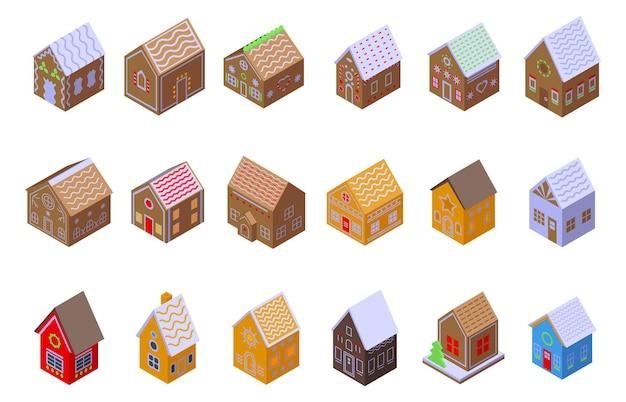 Gingerbread house icons set. isometric set of gingerbread house icons for web design isolated on white background