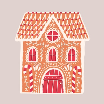 ジンジャーブレッドハウスが分離されました。建物のような形をした装飾的な菓子