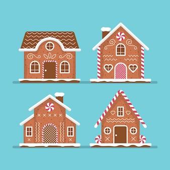 Gingerbread house set flat design
