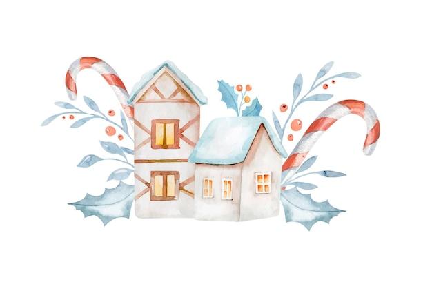 白い背景で隔離のクリスマスの装飾とジンジャーブレッドの家。水彩イラスト