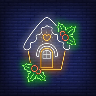 Gingerbread house with mistletoe in neon style
