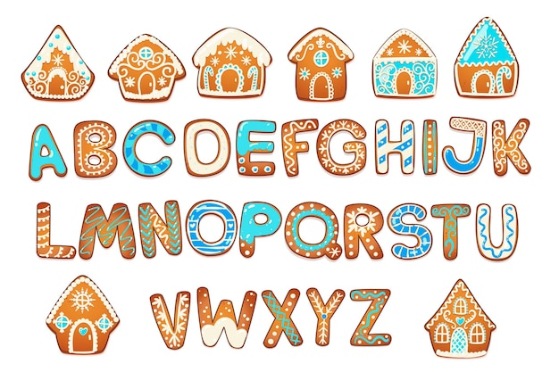 Gingerbread houses and alphabet set. cute christmas traditional cookie with white icing decoration. vector illustration.