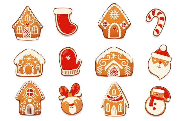 진저브레드 하우스와 쿠키 세트. 흰색 장식 장식이 있는 귀여운 크리스마스 전통 캐릭터. 벡터 일러스트 레이 션.
