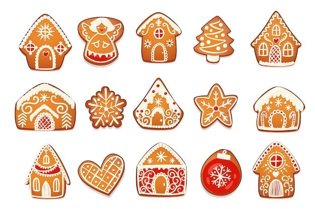 ジンジャーブレッドハウスとクッキーセット。白いアイシングの装飾が施されたかわいいクリスマスの伝統的なキャラクター。ベクトルイラスト。
