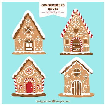 Gingerbread houses on a blue background