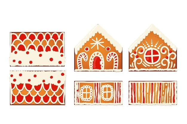 진저 브레드 하우스 선물 템플릿입니다. 흰색 장식 장식이 있는 귀여운 크리스마스 전통 쿠키. 벡터 일러스트 레이 션.