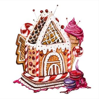 Пряничные домики рисованной акварельные иллюстрации набор рождественское печенье здания с леденцами и мороженым на белом фоне сказочные хижины с кондитерскими украшениями картины акварелью