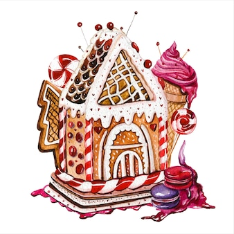 Gingerbread houses hand drawn watercolor illustrations set christmas cookies buildings with lollipops and ice cream on white background fairytale huts with confection decorations aquarelle paintings