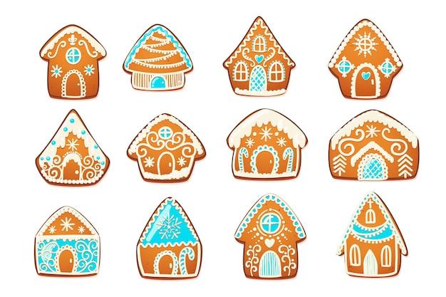 진저브레드 하우스 세트입니다. 흰색 장식 장식이 있는 귀여운 크리스마스 전통 쿠키. 벡터 일러스트 레이 션.