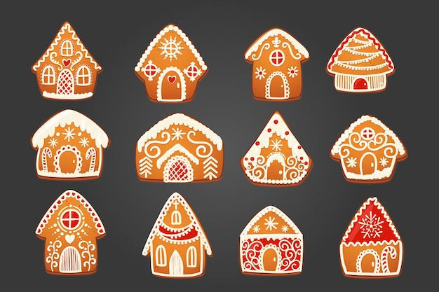 Gingerbread houses set. cute christmas traditional cookie with white icing decoration. vector illustration.