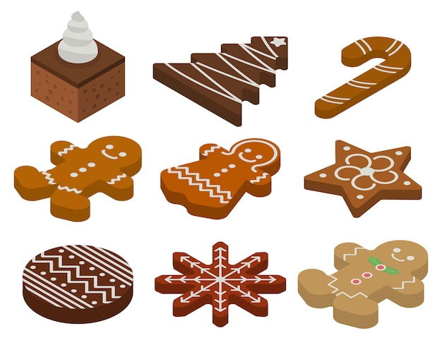 Gingerbread icons set, isometric style