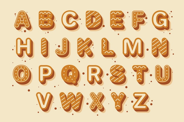 Gingerbread illustration christmas alphabet