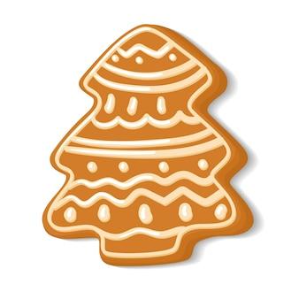 크리스마스 트리 형태의 진저브레드. 벡터 일러스트 레이 션에 플랫 스타일입니다. 흰색 배경에 고립. 홈 베이커리, 요리, 장식 쿠키, 크리스마스 과자. 손으로 만든 생과자를 위한 클립 아트.
