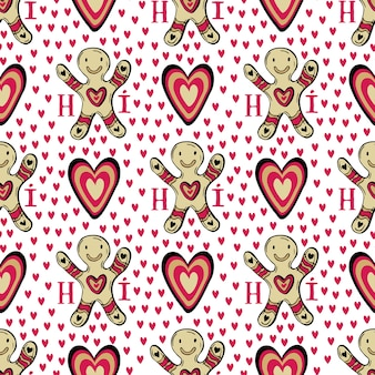 Gingerbread man background with hearts. sweets vector cookie seamless pattern