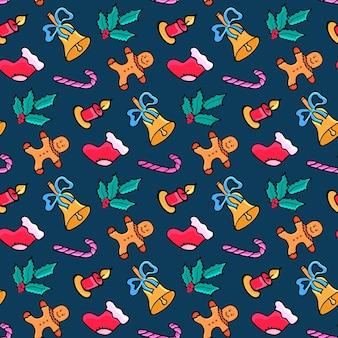 ジンジャーブレッドマン、キャンディー、サンタの靴下、ヤドリギ。クリスマスのシームレスなパターン。落書きで新年のデザイン